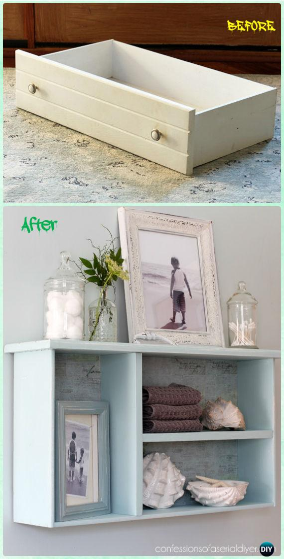 DIY Dresser drawer Bathroom Shelf Instruction - Practical Ways to Recycle Old Drawers for Home