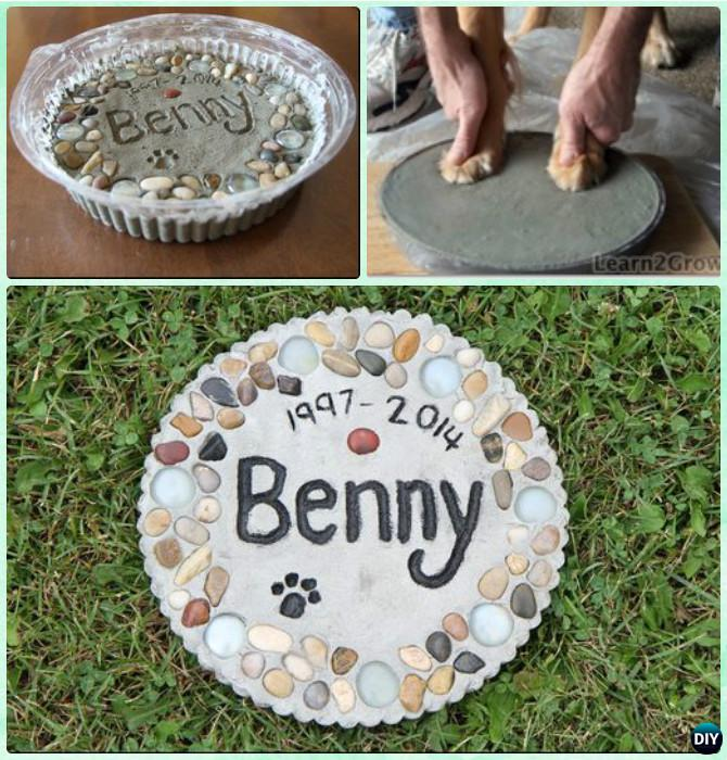 DIY Puppy Paw Print Memory Garden Stepping Stone Instruction --Paw Print Craft Ideas Projects