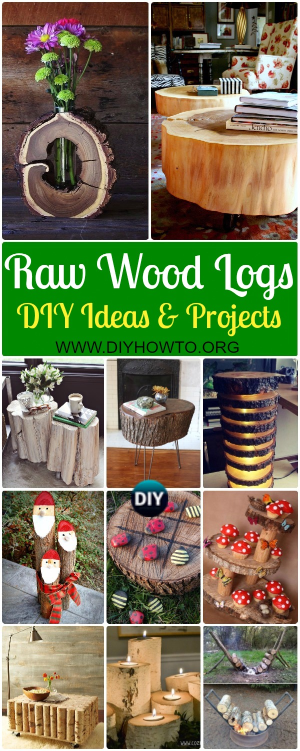 Collection of Raw Wood Logs and Stumps DIY Ideas Projects & Instructions: Wood Log Stump furniture, tables, vase, chair, wall decoration, garden planter & More