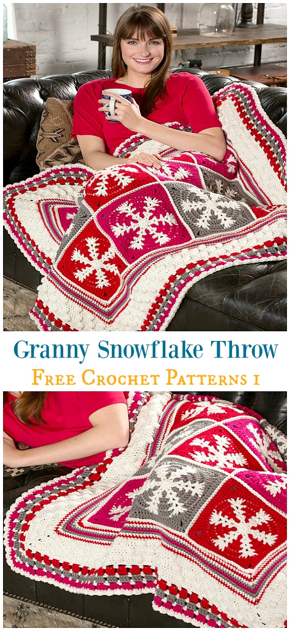 Granny Snowflake Throw Crochet Free Pattern - #Snowflake; Afghan #Blanket; Free #Crochet; Patterns