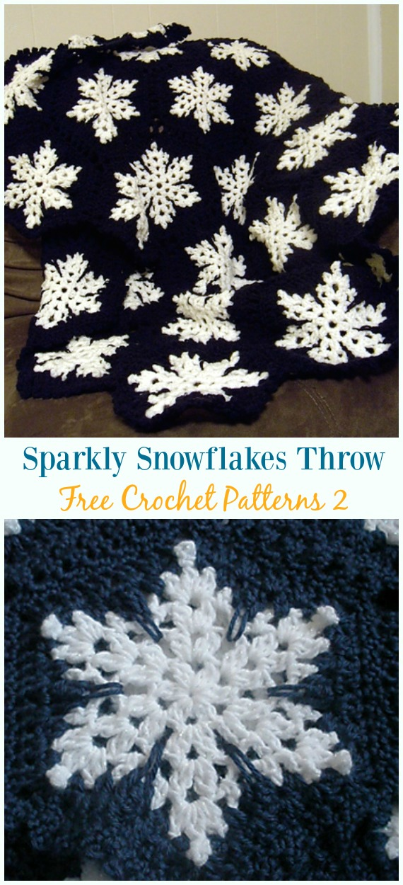 Sparkly Snowflakes Throw Crochet Free Pattern - #Snowflake; Afghan #Blanket; Free #Crochet; Patterns