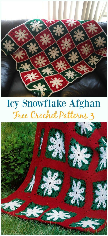 Icy Snowflake AfghanCrochet Free Pattern - #Snowflake; Afghan #Blanket; Free #Crochet; Patterns