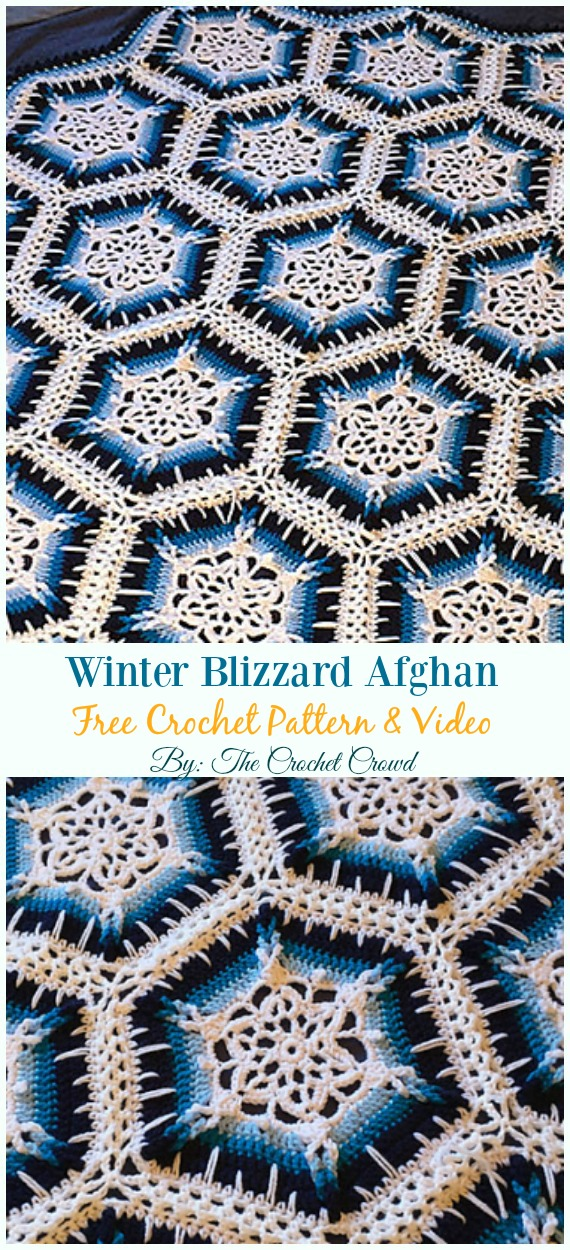 Winter Blizzard Afghan Crochet Free Pattern - #Snowflake; Afghan #Blanket; Free #Crochet; Patterns
