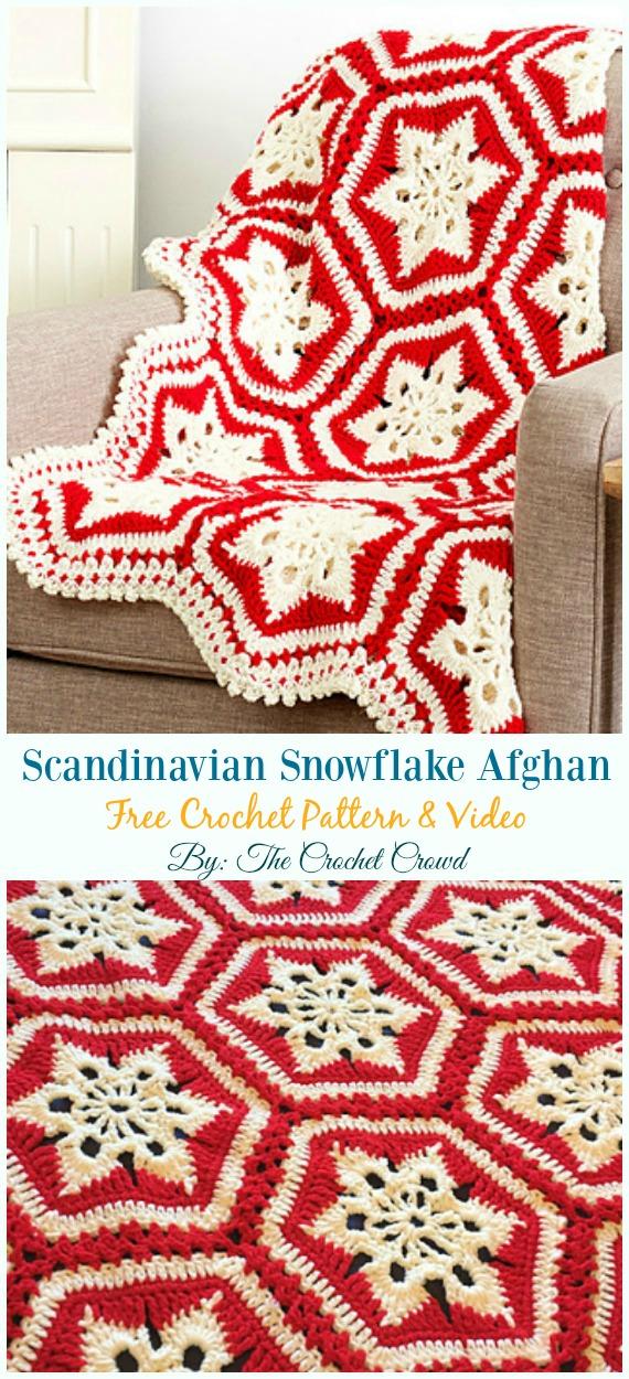 Scandinavian Snowflake Afghan Crochet Free Pattern - #Snowflake; Afghan #Blanket; Free #Crochet; Patterns