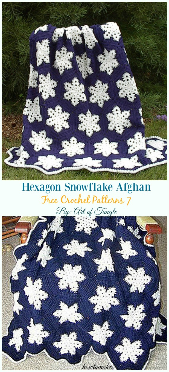 Hexagon Snowflake Afghan Crochet Free Pattern - #Snowflake; Afghan #Blanket; Free #Crochet; Patterns