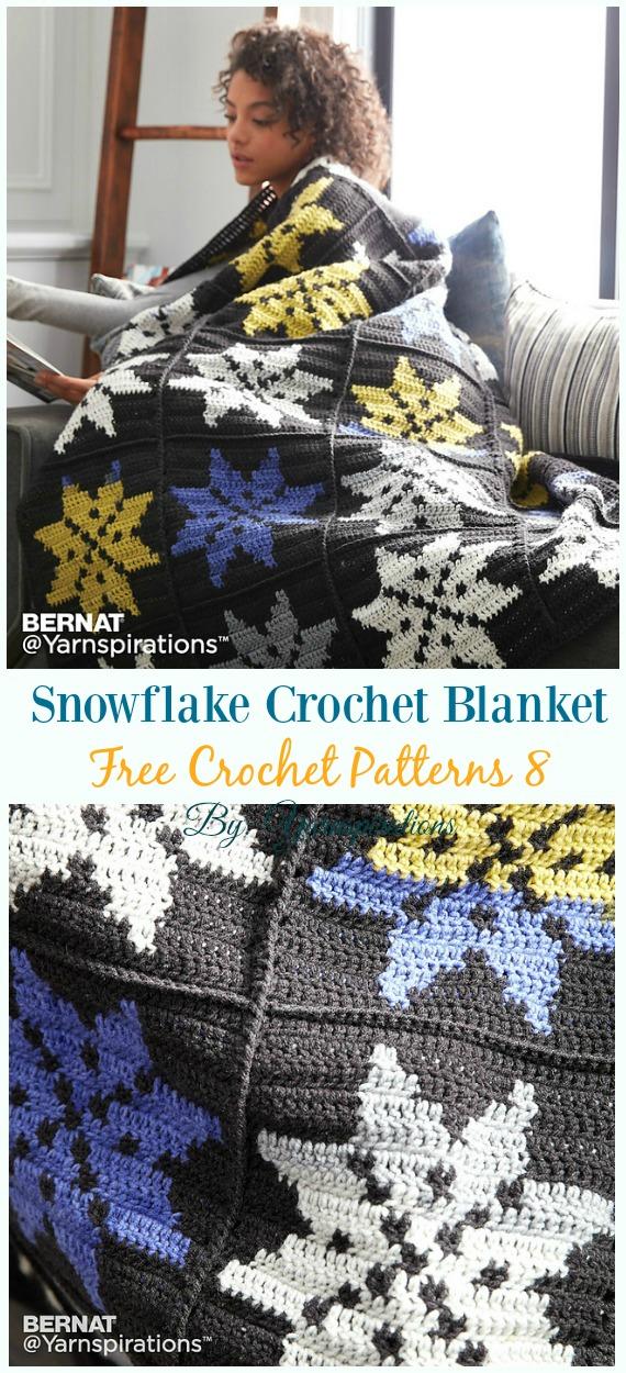Snowflake Crochet Blanket Crochet Free Pattern - #Snowflake; Afghan #Blanket; Free #Crochet; Patterns