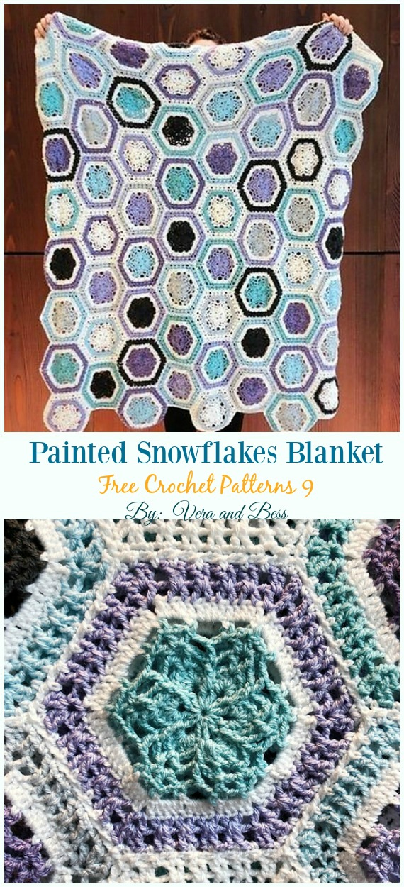 Painted Snowflakes Blanket Crochet Free Pattern - #Snowflake; Afghan #Blanket; Free #Crochet; Patterns