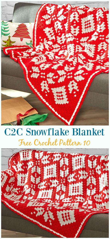 Corner to Corner Snowflake Blanket Crochet Free Pattern - #Snowflake; Afghan #Blanket; Free #Crochet; Patterns