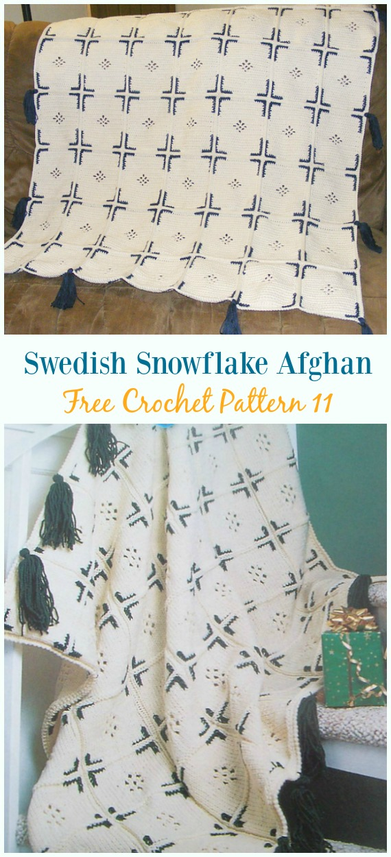 Swedish Snowflake Afghan Blanket Crochet Free Pattern - #Snowflake; Afghan #Blanket; Free #Crochet; Patterns