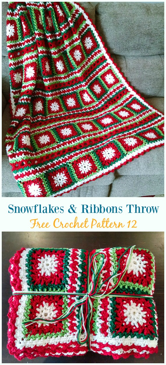 Snowflakes & Ribbons Throw Crochet Free Pattern - #Snowflake; Afghan #Blanket; Free #Crochet; Patterns