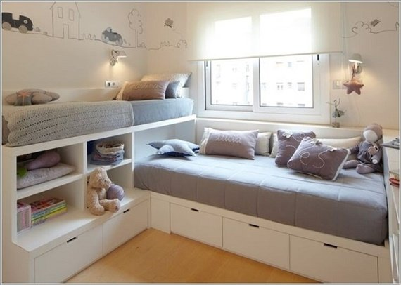 Space saving kids bedroom furniture design layout - Toddler bedroom ideas for small rooms ...