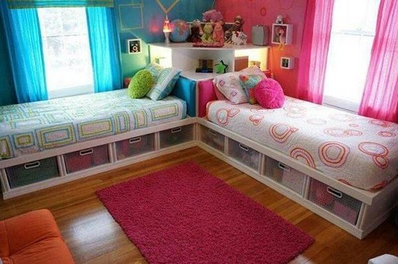 Corner Bed-Space Saving Kids Room Furniture Design and Layout & Space Saving Kids Bedroom Furniture Design Layout
