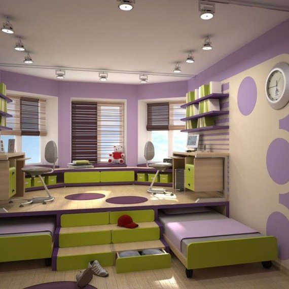Slide Out Under Floor Bed-Space Saving Kids Room Furniture Design and Layout