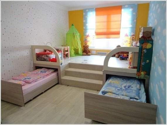 diy space saving furniture. Slide Out Under Floor Bed-Space Saving Kids Room Furniture Design And Layout Diy Space E