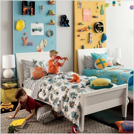 Pegboards Behind Headboard Storage-Space Saving Kids Room Furniture Design and Layout