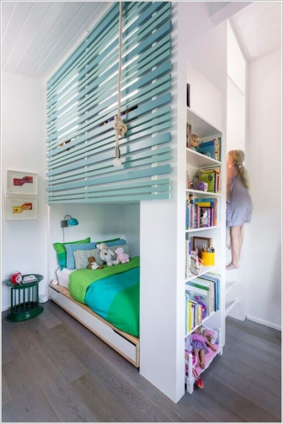 Built In Loft Bed with Side Storage Shelves-Space Saving Kids Room Furniture Design and Layout