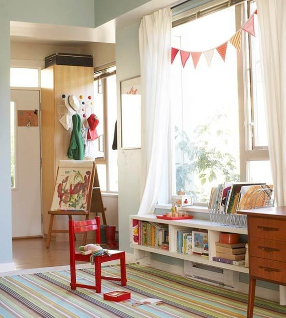 Seats Beside Windows with Storage -Space Saving Kids Room Furniture Design and Layout