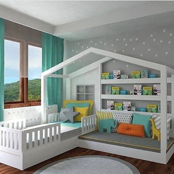 Sleeping Bed and Day Bed in One with reading shelves-Space Saving Kids Room Furniture Design and Layout