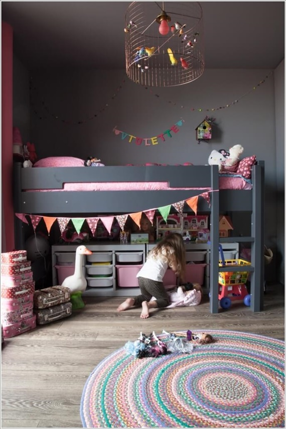 Storage Unit Under Loft Bed-Space Saving Kids Room Furniture Design and Layout