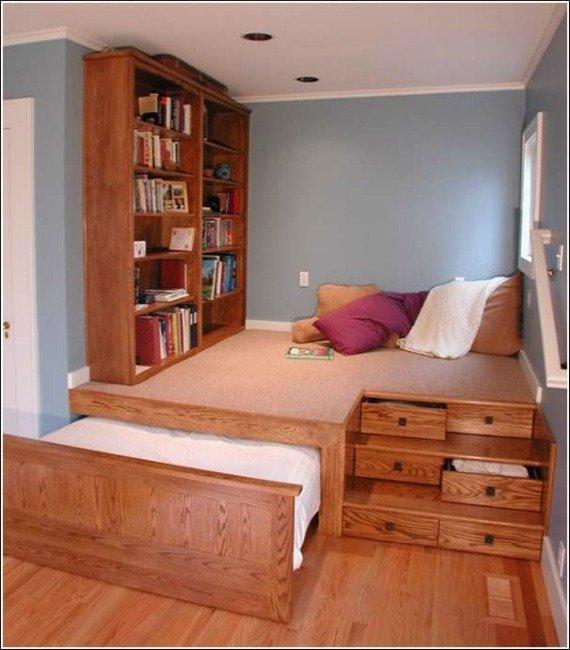 Slide Out Under Platford Bed-Space Saving Kids Room Furniture Design and Layout