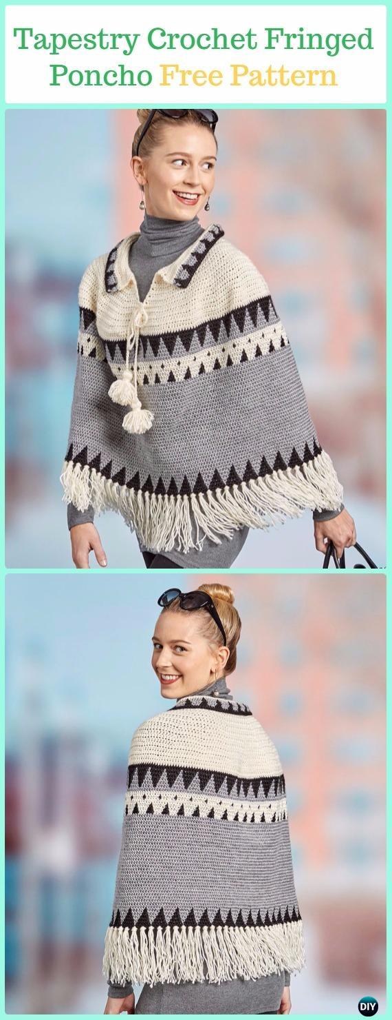 Tapestry Crochet Canyon Ridge Fringed Poncho Free Pattern -Tapestry Crochet Free Patterns