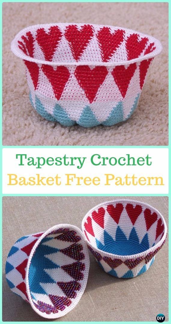 Reversible Bead Tapestry Crochet Basket Free Pattern -Tapestry Crochet Free Patterns