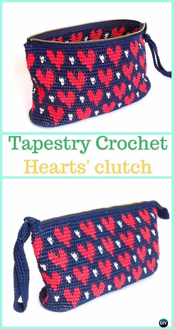 Tapestry Crochet Hearts' clutch Paid Pattern -Tapestry Crochet Free Patterns