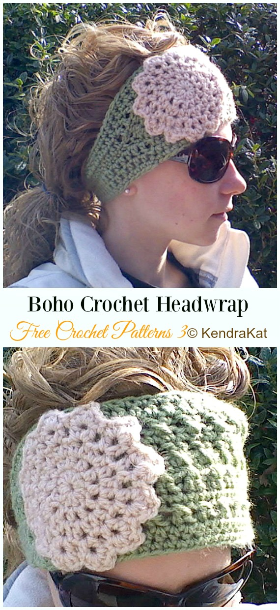 Boho Crochet Headwrap Crochet Free Pattern - Trending Women #EarWarmer; Free #Crochet; Patterns
