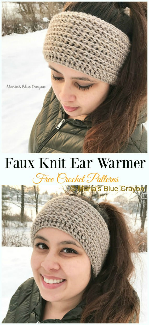 Faux Knit Ear Warmer Crochet Free Pattern - Trending Women #EarWarmer; Free #Crochet; Patterns