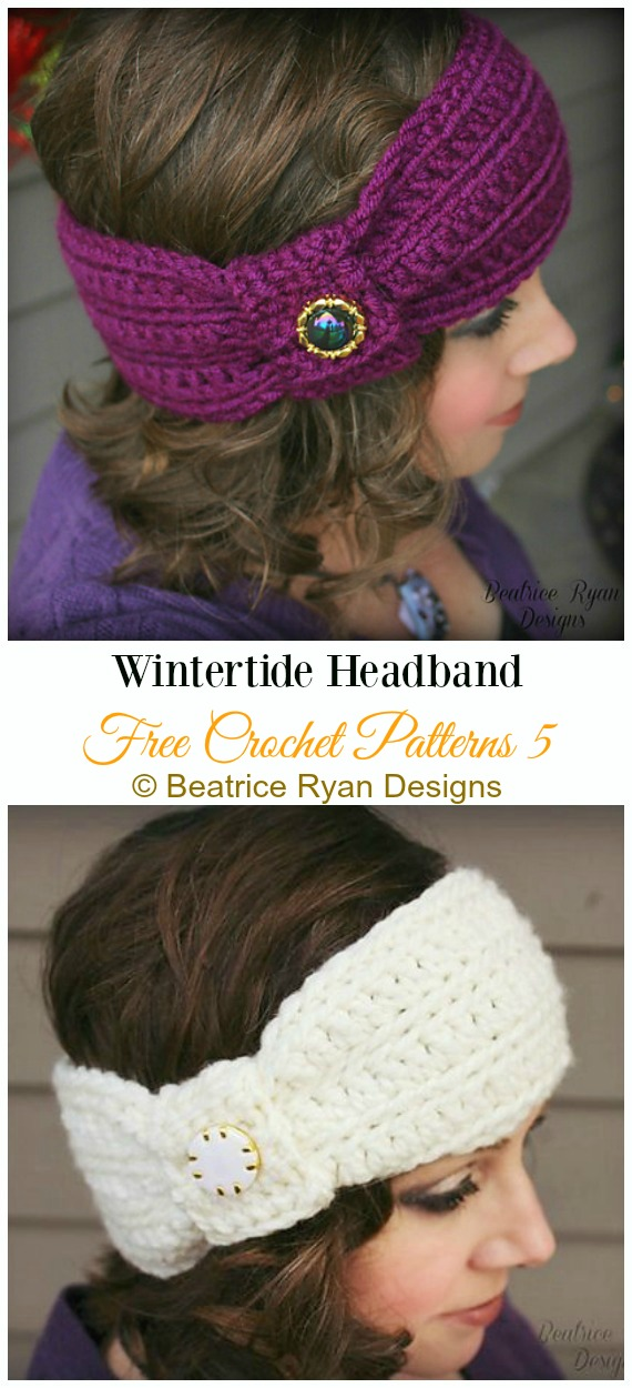 Wintertide Headband Crochet Free Pattern - Trending Women Headband & #EarWarmer; Free #Crochet; Patterns
