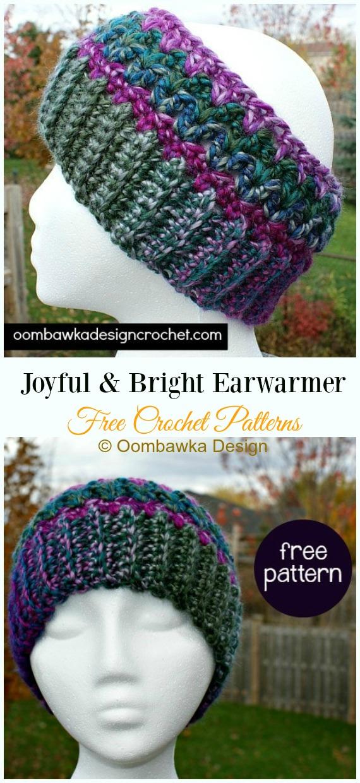 Joyful & Bright EarwarmerCrochet Free Pattern -Trending Women Headband & #EarWarmer; Free #Crochet; Patterns