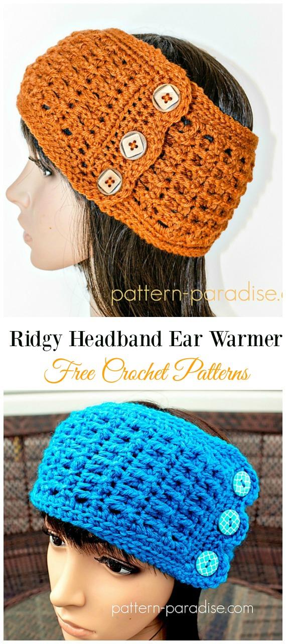 Ridgy Headband Ear WarmerCrochet Free Pattern -Trending Women Headband & #EarWarmer; Free #Crochet; Patterns