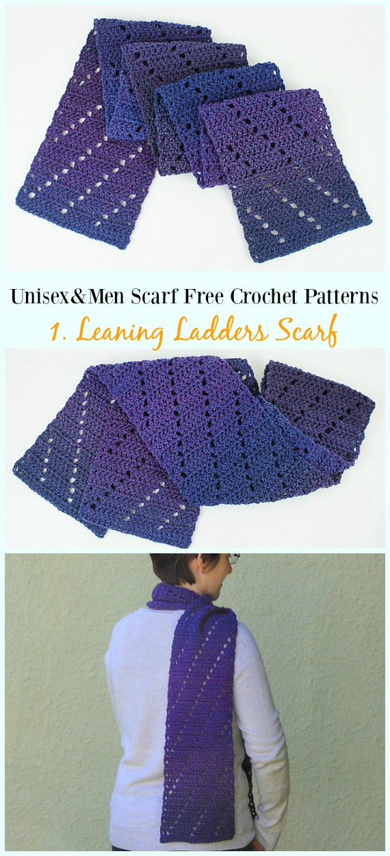 Leaning Ladders Scarf Crochet Free Pattern - Unisex & #Men; #Scarf; Free #Crochet; Patterns