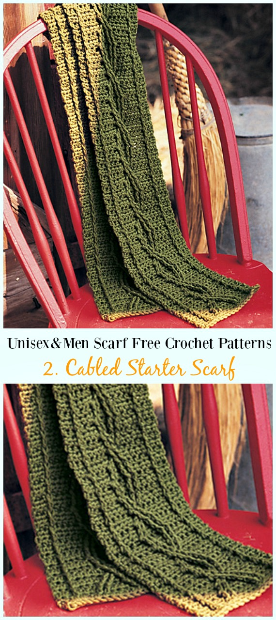 Cabled Starter Scarf Crochet Free Pattern - Unisex & #Men; #Scarf; Free #Crochet; Patterns