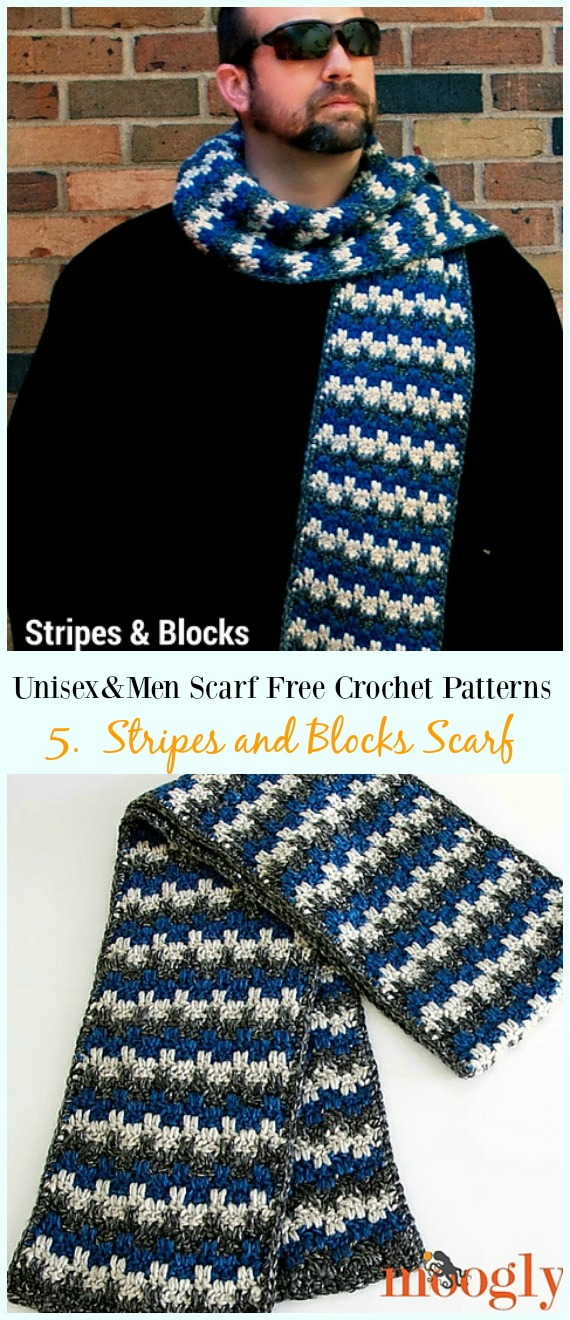 Stripes and Blocks Scarf Crochet Free Pattern - Unisex & #Men; #Scarf; Free #Crochet; Patterns