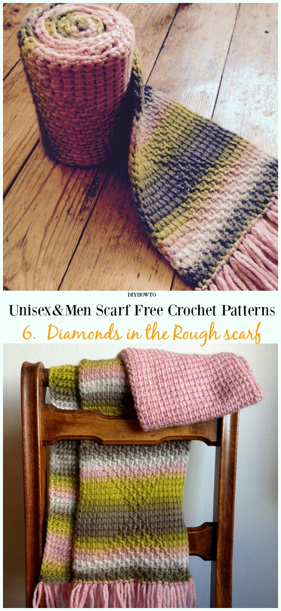 Diamonds in the Rough scarf Crochet Free Pattern - Unisex & #Men; #Scarf; Free #Crochet; Patterns