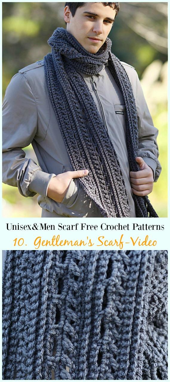 Gentlemans Scarf Crochet Free Pattern Unisex Men Scarf Free