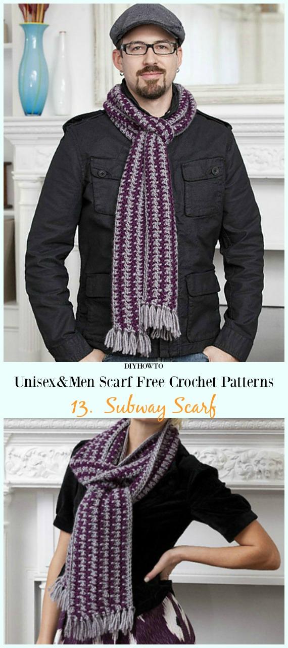 Subway Scarf Crochet Free Pattern -Unisex & #Men; #Scarf; Free #Crochet; Patterns