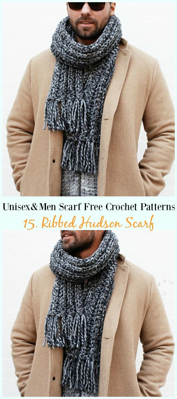 Ribbed Hudson Scarf Crochet Free Pattern -Unisex & #Men; #Scarf; Free #Crochet; Patterns