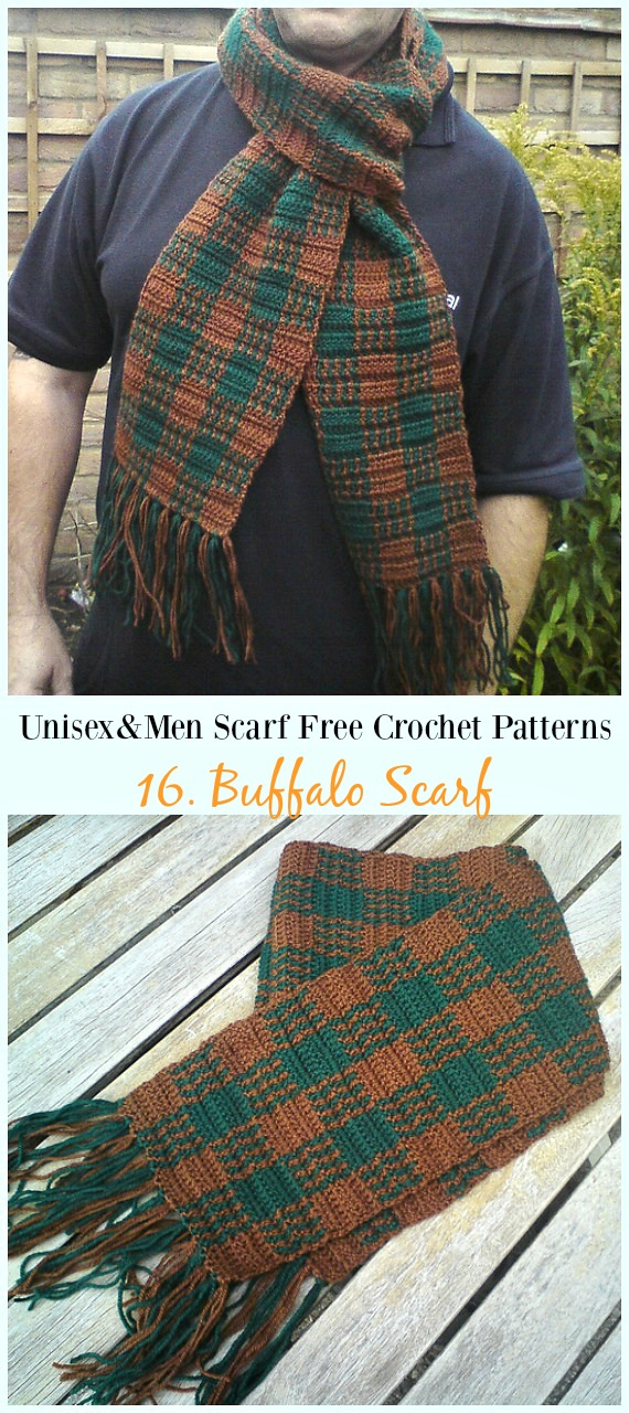 Crafts For Dad: Unisex & Men Scarf Free Crochet Patterns