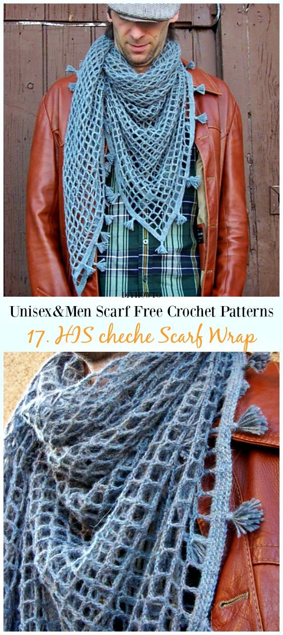 HIS cheche Scarf Wrap Crochet Free Pattern -Unisex & #Men; #Scarf; Free #Crochet; Patterns
