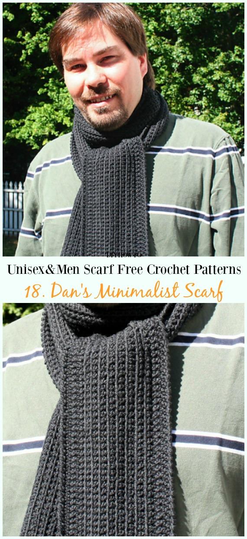 Dan's Minimalist Scarf Crochet Free Pattern -Unisex & #Men; #Scarf; Free #Crochet; Patterns