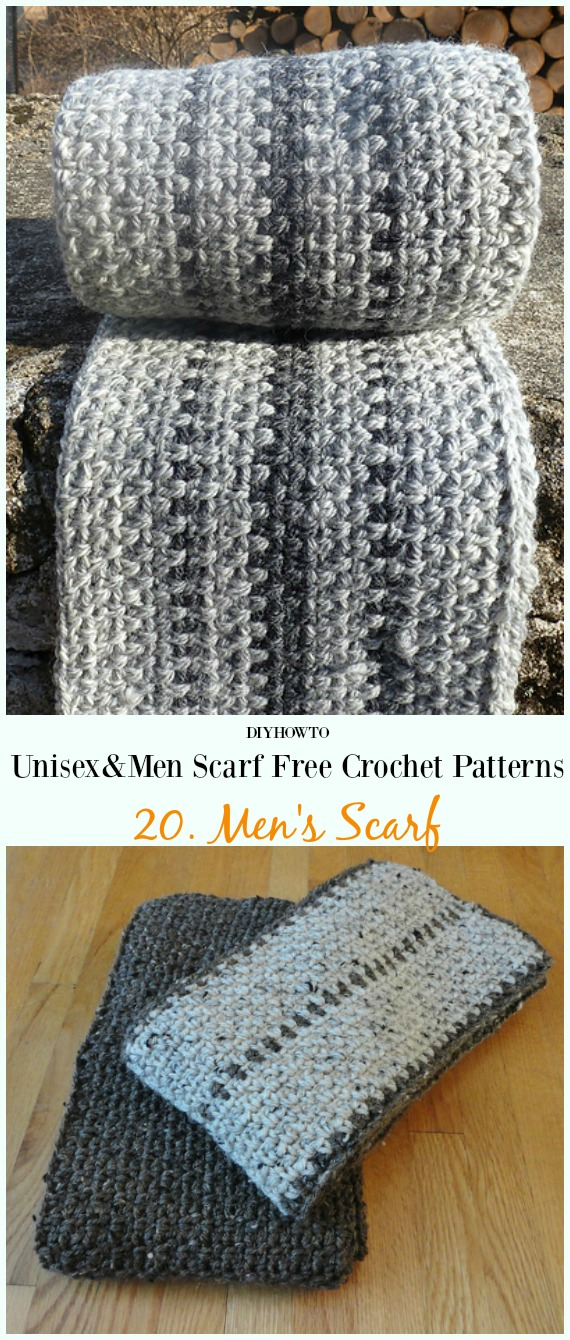 Mens Scarf Crochet Free Pattern Unisex Men Scarf Free