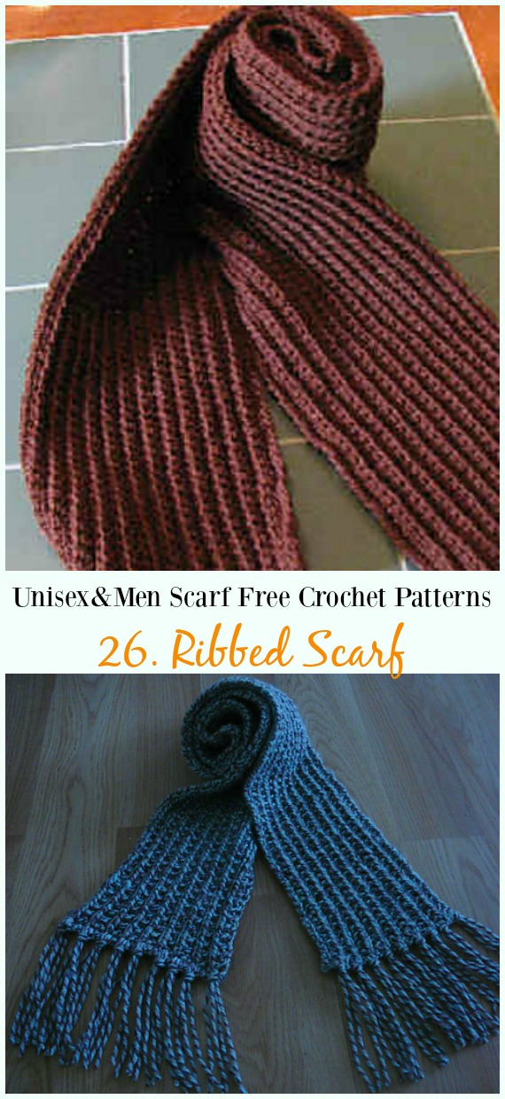 Diyhowto Unisex Men Scarf Free Crochet Patterns 26 Diy How To