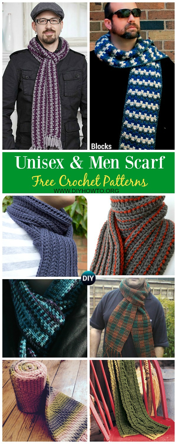 Collection of Unisex & Men Scarf Free Crochet Patterns: crochet ribbed scarf, cable scarf, block scarf, men scarf, women scarf, boyfriend and husband, father's day gift