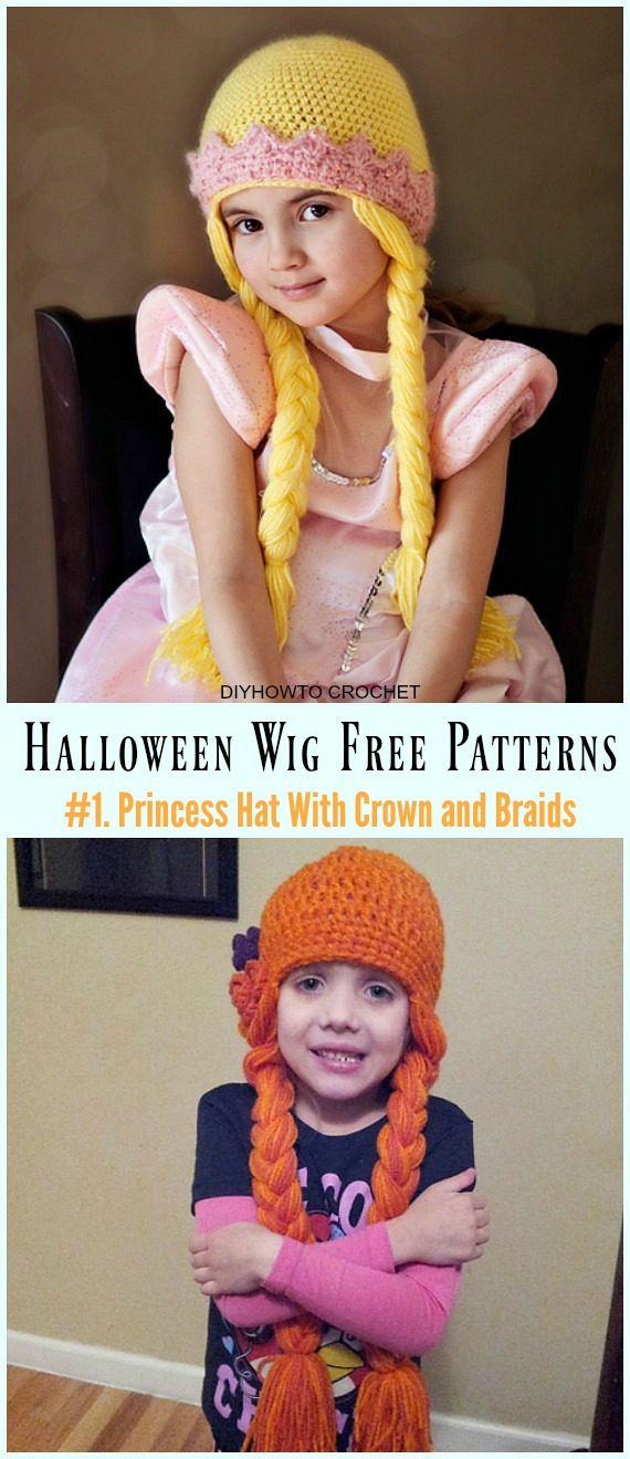 Crochet Princess Wig Hat With Crown Free Pattern- #Wig; #Hat; Free #Crochet; Patterns For Halloween