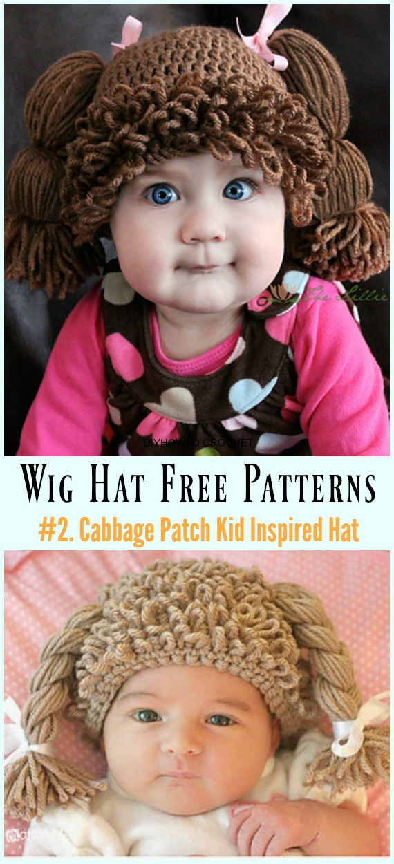 Crochet Cabbage Patch Kid Inspired Hat Free & Paid Pattern- #Wig; #Hat; Free #Crochet; Patterns For Halloween