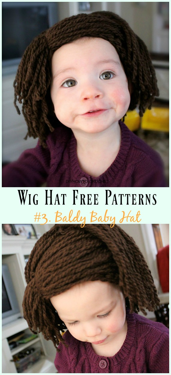 Crochet Baldy Baby Hat Free Pattern- #Wig; #Hat; Free #Crochet; Patterns For Halloween