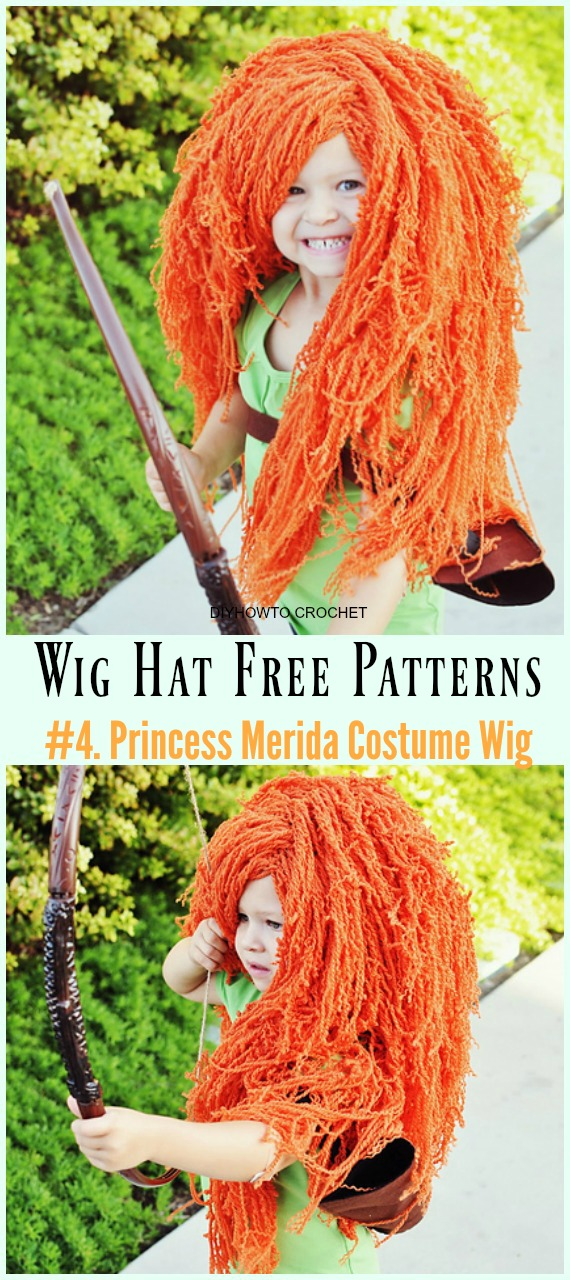 Crochet Princess Merida Costume Wig Free Pattern- #Wig; #Hat; Free #Crochet; Patterns For Halloween