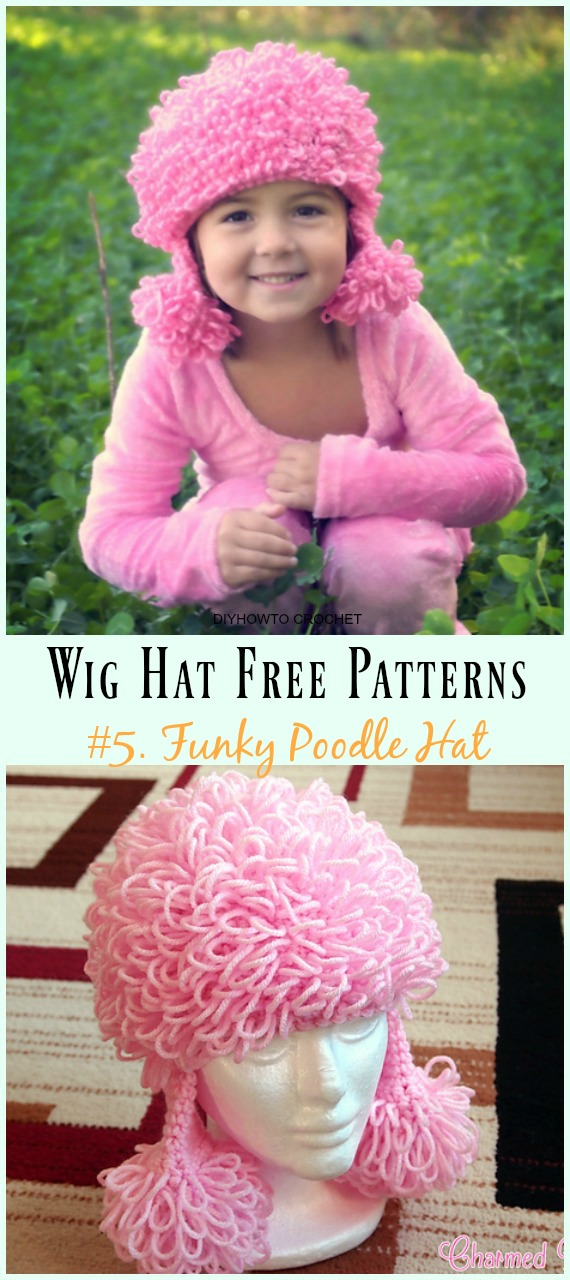 Funky Poodle Hat Free Crochet Pattern- #Wig; #Hat; Free #Crochet; Patterns For Halloween